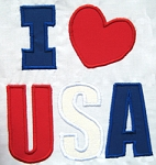 I Love USA Applique