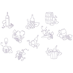 Fancy Grapes Lineart Set