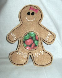 Gingerbread Girl Candy Pouch ITH